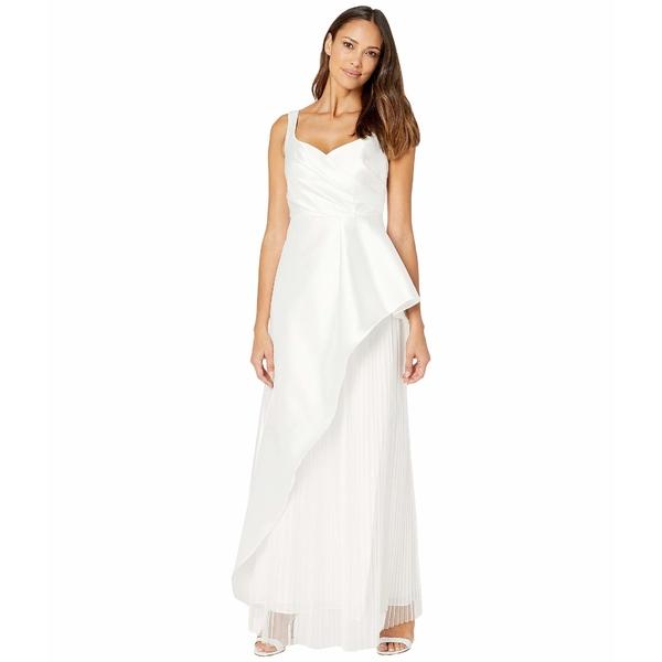 アドリアナ パペル レディース ワンピース トップス Mikado Evening Gown with Pleats Ivory