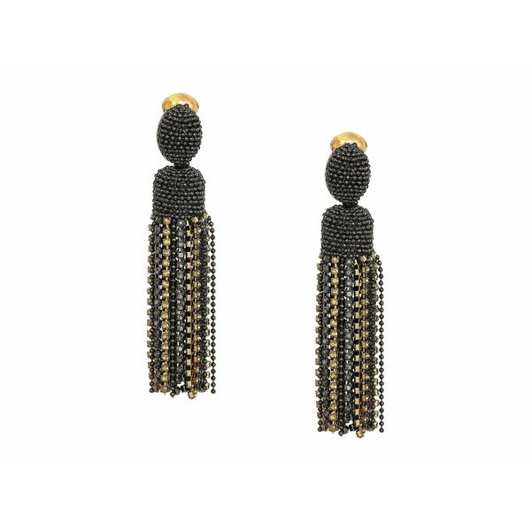 オスカー デ ラ レンタ レディース ピアス&イヤリング アクセサリー Crystal Tassel Clip Earrings Black/Gold
