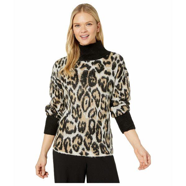 ヴィンスカムート レディース ニット&セーター アウター Long Sleeve Cheetah Jacquard Turtleneck Sweater Rich Black