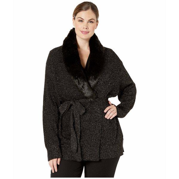 マイケルコース レディース ニット&セーター アウター Plus Size Fur Collar Trim Cardigan Black/Gold