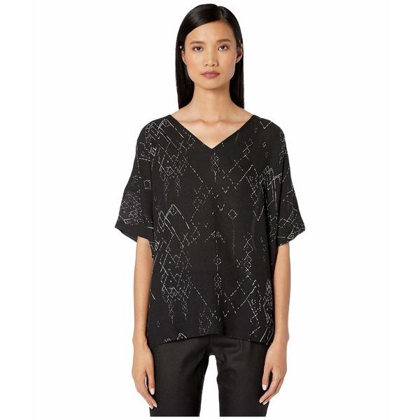 エイリーンフィッシャー レディース シャツ トップス Marrakesh Printed Silk Tencel V-Neck Wedge Top Black