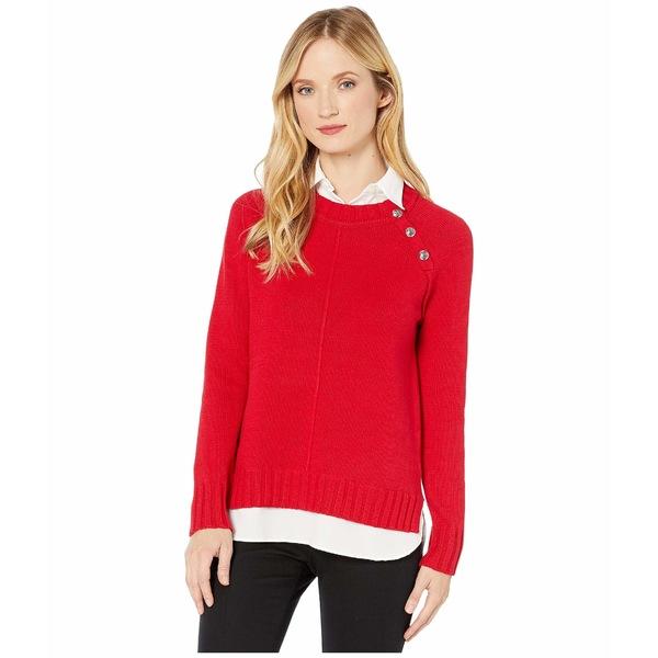 ラルフローレン レディース ニット&セーター アウター Layered Cotton-Blend Sweater Lipstick Red