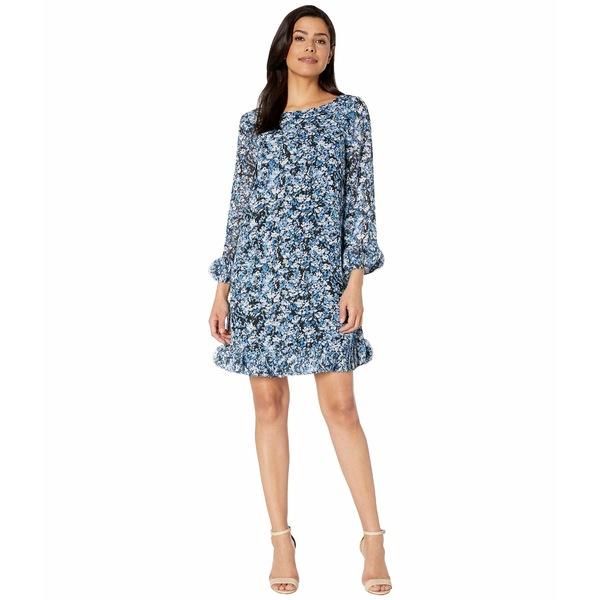 タハリ レディース ワンピース トップス Long Sleeve Printed Ditsy Floral Chiffon Dress with Hem and Sleeve Detail Ditsypaint Floral Royal