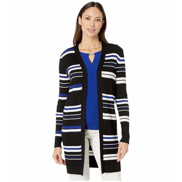 カルバンクライン レディース ニット&セーター アウター Striped Open Cardigan Black/White/Blue