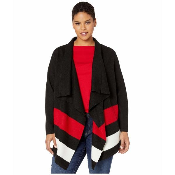 ラルフローレン レディース ニット&セーター アウター Plus Size Open-Front Wool Sweater Polo Black/Lipstick Red/Mascarpone Cream