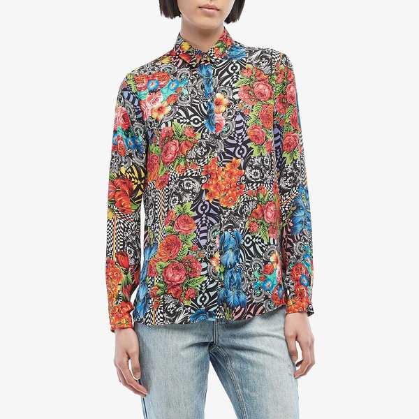 ベルサーチ レディース シャツ トップス Optical Flower Print Button Down Shirt Black