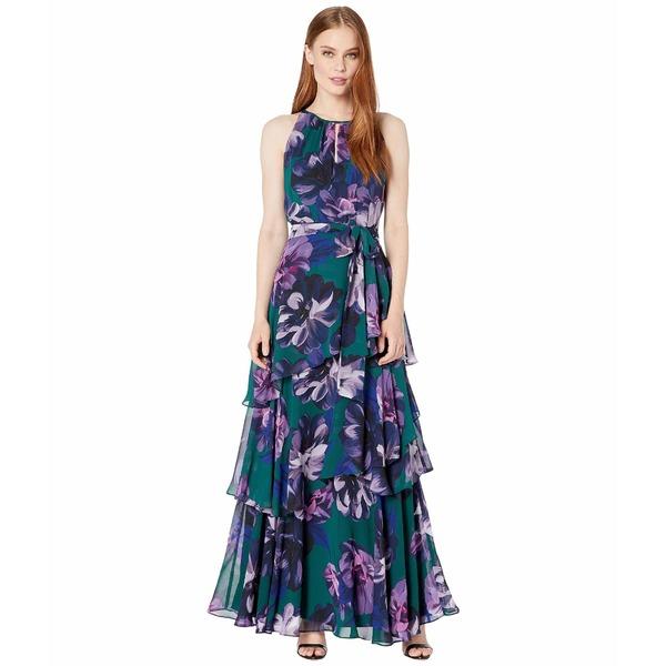 タハリ レディース ワンピース トップス Printed Floral Chiffon Full-Length Gown w/ Keyhole Neckline and Tiered Skirt Purple/Green Floral