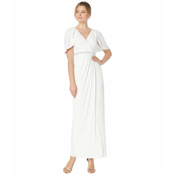 アドリアナ パペル レディース ワンピース トップス Long Draped Gown with Beaded Waist and Capelet Ivory