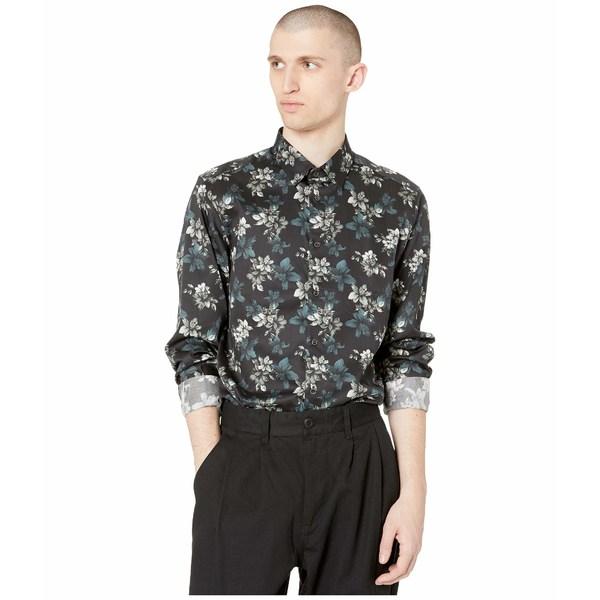 テッドベーカー メンズ シャツ トップス Revoir Long Sleeve Floral Print Shirt Navy