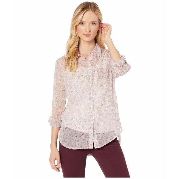 ヴィンスカムート レディース シャツ トップス Long Sleeve Floral Layers Shirred Shoulder One-Pocket Shirt Soft Pink