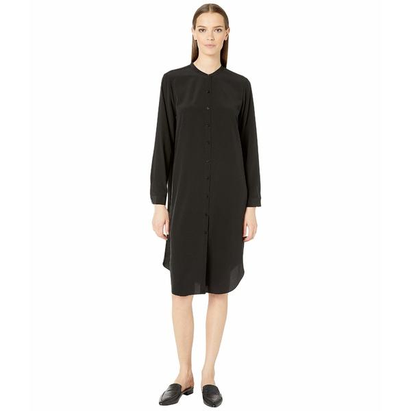 エイリーンフィッシャー レディース ワンピース トップス Silk Crepe De Chine Mandarin Collar Knee Length Shirtdress Black