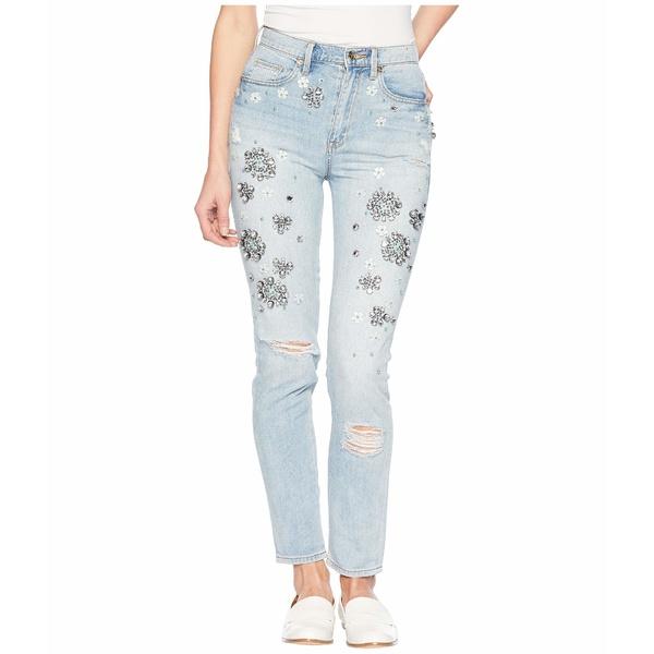 ジューシークチュール レディース デニムパンツ ボトムス Denim Floral Embellished Girlfriend Jeans High Tide Wash