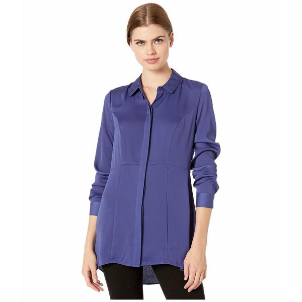 BCBジェネレーション レディース シャツ トップス Tunic Length Long Sleeve Woven Top YQG1271736 Twilight Blue
