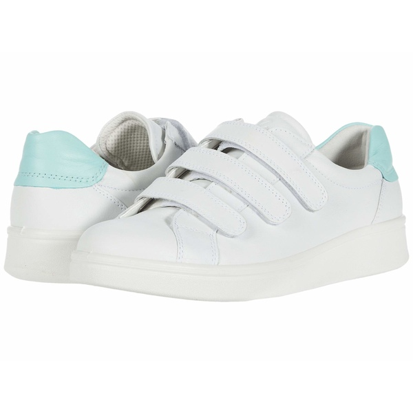 エコー レディース スニーカー シューズ Soft 4 Three Strap Sneaker White/Eggshell Blue Cow Leather/Cow Leather
