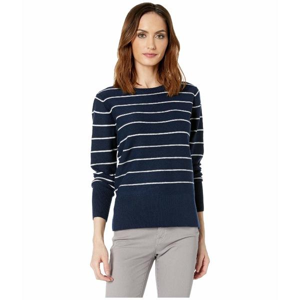エヌワイディージェイ レディース ニット&セーター アウター Long Sleeve Crew Neck Sweater Peacoat/Vanilla Stripe