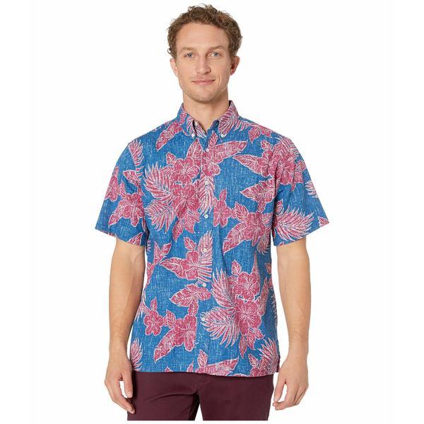 レインスプーナー メンズ シャツ トップス Hibiscus Fronds Classic Fit Weekend Wash Shirt Dark Blue