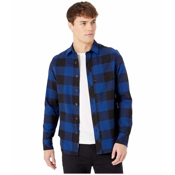 ジースター メンズ シャツ トップス Stalt Straight Shirt Long Sleeve Dark Black/Imperial Blue Check