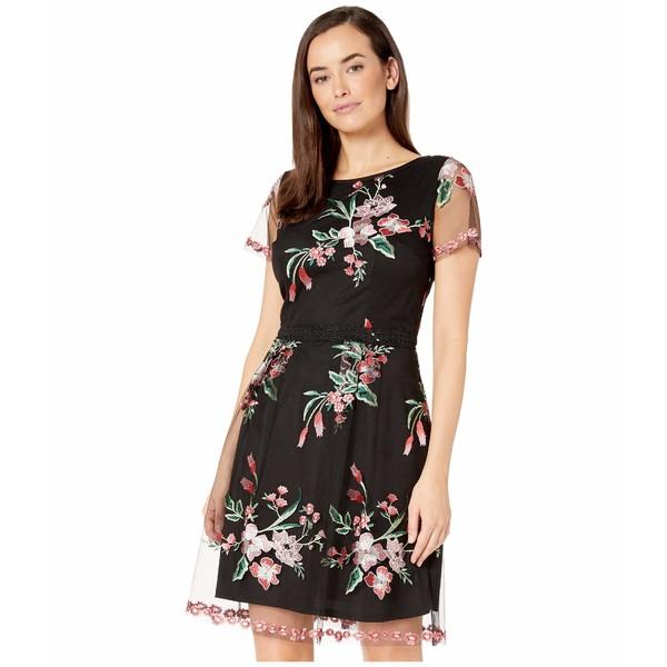 アドリアナ パペル レディース ワンピース トップス Cap Sleeve Floral Embroidered A-Line Dress Black Multi