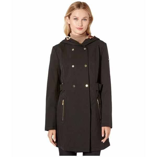 ヴィアスピガ レディース コート アウター Double Breasted Hooded Raincoat with Leopard Warm Backing Black