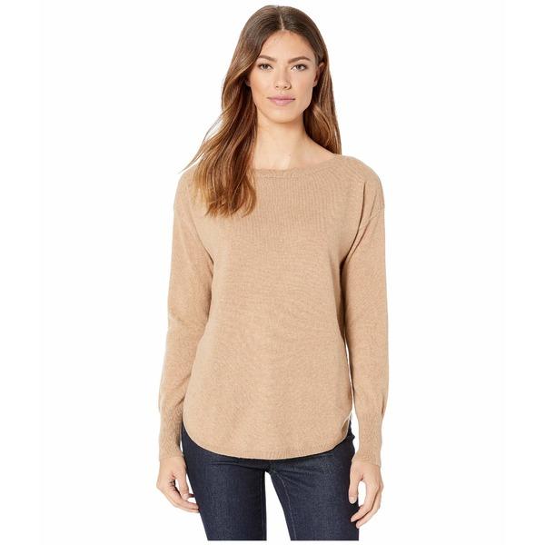 エリオットローレン レディース ニット&セーター アウター Cashmere Bateau Neck Sweater with Shirttail Hem Camel