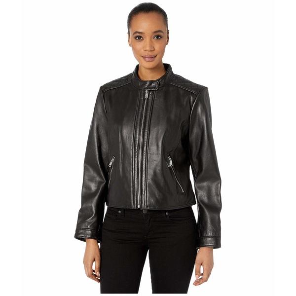 ラルフローレン レディース コート アウター Petite Zip Front Diamond Quilt Leather Jacket Black