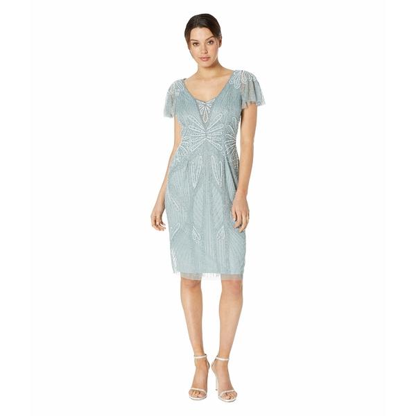 アドリアナ パペル レディース ワンピース トップス Embellished V-Neck Flutter Sleeve Cocktail Dress Horizon