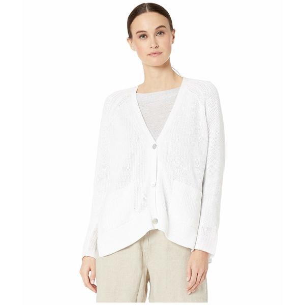 エイリーンフィッシャー レディース ニット&セーター アウター Organic Cotton V-Neck Cardigan White