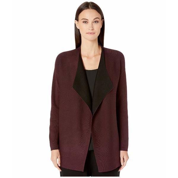 エイリーンフィッシャー レディース ニット&セーター アウター Silk & Organic Cotton Cascading Front Cardigan Cassis