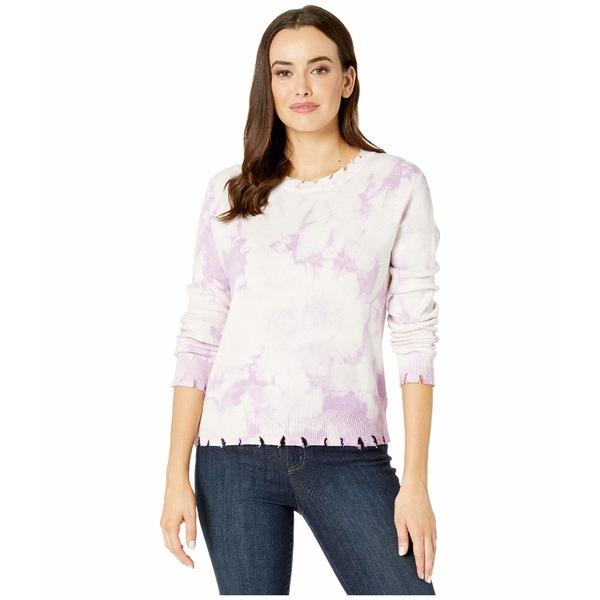 アメリカンローズ レディース ニット&セーター アウター Lyla Long Sleeve Distressed Tie-Dye Sweater Lavender