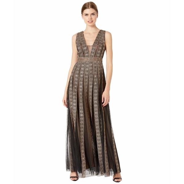ビーシービージーマックスアズリア レディース ワンピース トップス Embroidered Metallic Gown Black Combo
