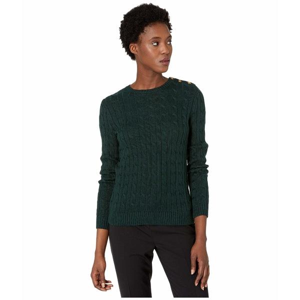 ラルフローレン レディース ニット&セーター アウター Button-Trim Cable Sweater Deep Pine