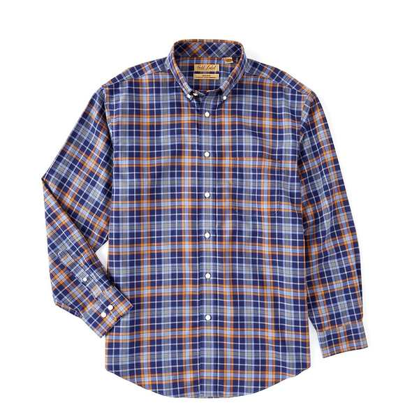 ランドツリーアンドヨーク メンズ シャツ トップス Gold Label Roundtree & Yorke Perfect Performance Long-Sleeve Heather Plaid Non-Iron Sportshirt Blue Heather