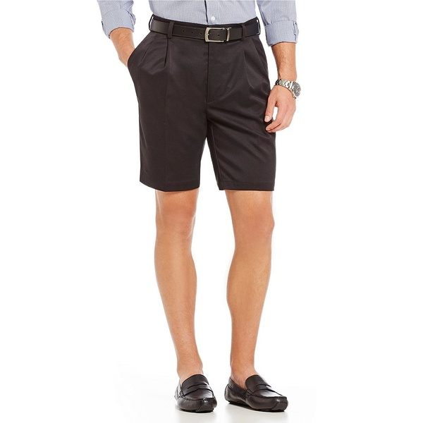 ランドツリーアンドヨーク メンズ ハーフ&ショーツ ボトムス TravelSmart 9#double; Inseam Pleated Easy Care Ultimate Comfort Shorts Black