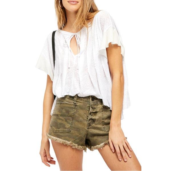 フリーピープル レディース シャツ トップス Terra Keyhole Slub T-Shirt Painted White