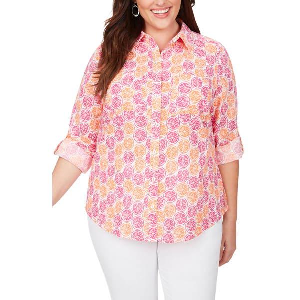フォックスクラフト レディース シャツ トップス Zoey Citrus Slices Print Cotton Shirt Multi