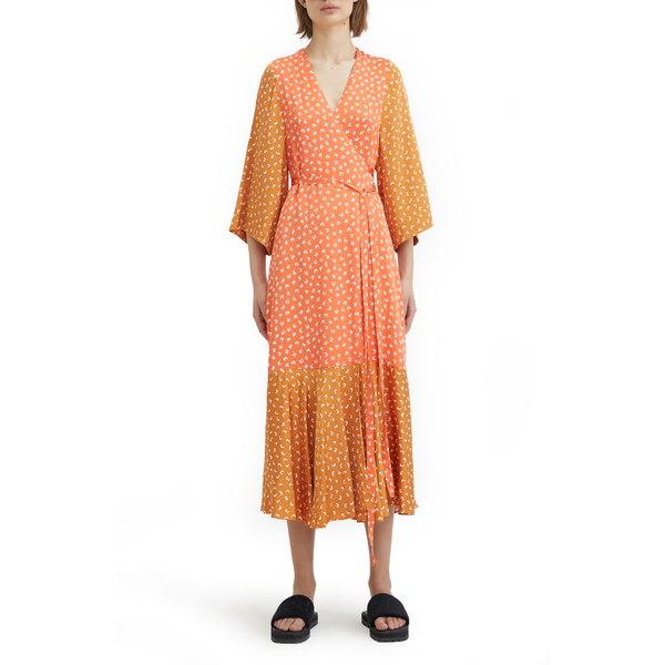 ロジャー レディース ワンピース トップス Print Wrap Dress Sandy Ochre