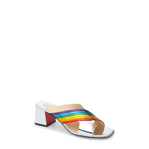 クリスチャン・ルブタン レディース サンダル シューズ Arkenmule Rainbow Metallic Leather Slide Sandal Silver/ Multi