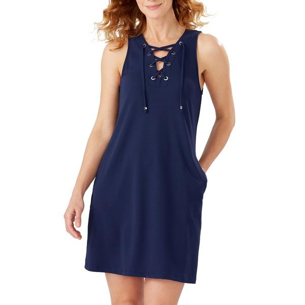 トッミーバハマ レディース ワンピース トップス Colorblock Lace-Up Cover-Up Dress Azure Blue