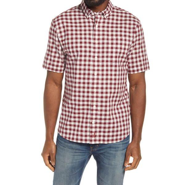 ジョニーオー メンズ シャツ トップス Watts Classic Fit Gingham Shirt Maroon 1