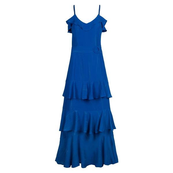 ライチェルレイチェルロイ レディース ワンピース トップス Metallic Ruffle Tiered Midi Dress Silk Blue