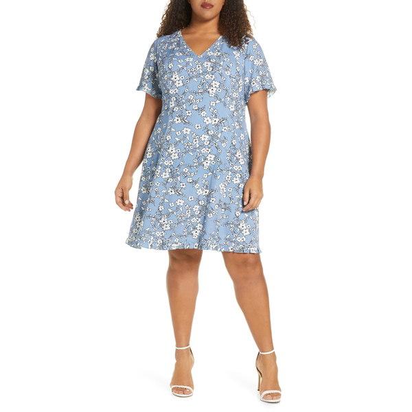 マレプアトイ レディース ワンピース トップス Floral Print Fit & Flare Dress Blue White