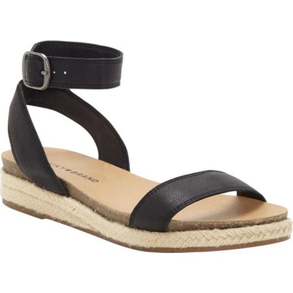 ラッキーブランド レディース スニーカー シューズ Garston Ankle Strap Sandal Black Pirin Wax Leather