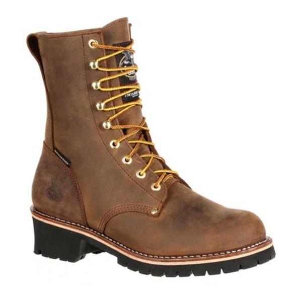 ジョージブーツ メンズ ブーツ&レインブーツ シューズ GB00065 Steel Toe WP Insulated Logger Work Boot Brown Full Grain Leather