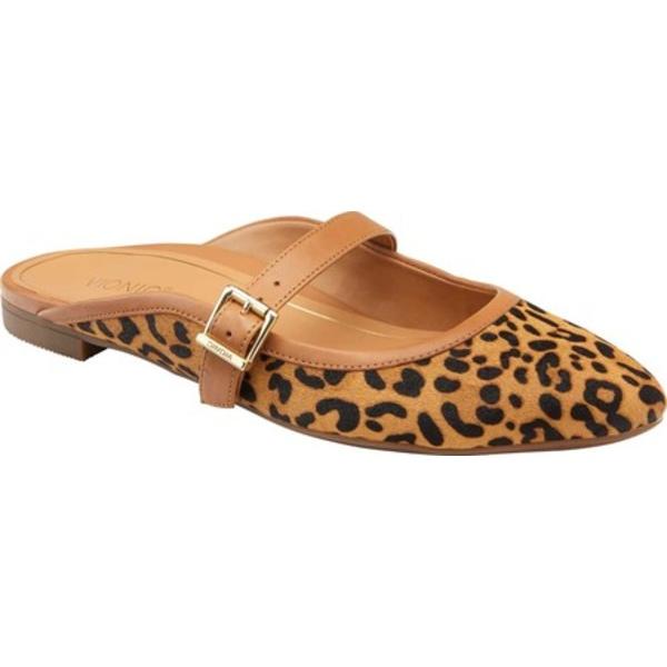 バイオニック レディース サンダル シューズ Esme Flat Mule Tan Leopard Calfskin