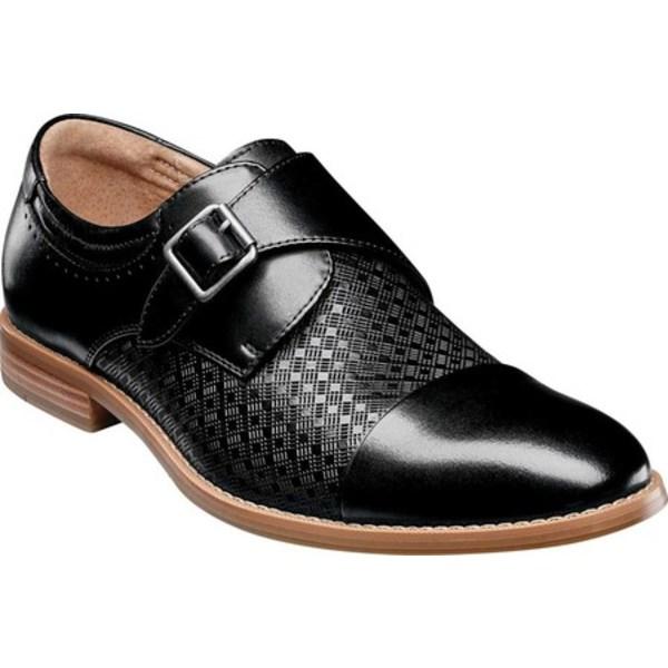 ステイシーアダムス メンズ ドレスシューズ シューズ Fenwick Cap Toe Monkstrap Black Smooth Leather