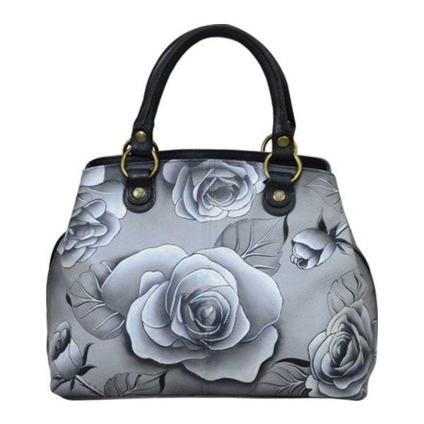 アンナバイアナシュカ レディース ハンドバッグ バッグ Hand Painted Leather Compartment Satchel 8392 Romantic Rose Black