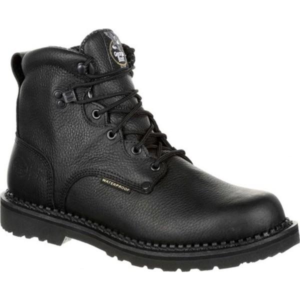 ジョージブーツ メンズ ブーツ&レインブーツ シューズ GB00249 Georgia Giant Waterproof Work Boot Black Leather