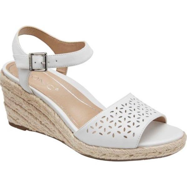 バイオニック レディース サンダル シューズ Ariel Wedge Sandal White Leather