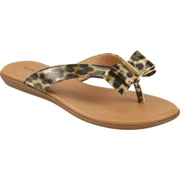 エアロソールズ レディース サンダル シューズ Cassville Thong Sandal Leopard Metallic Faux Leather