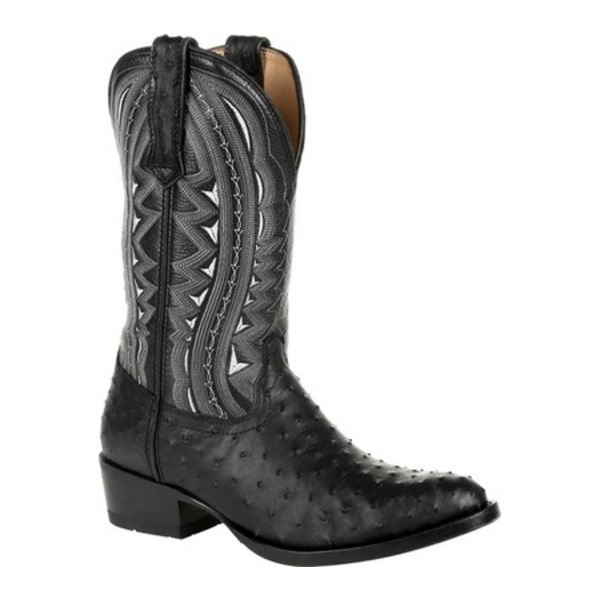 ヂュランゴ メンズ ブーツ&レインブーツ シューズ DDB0278 Exotic Full-Quill Ostrich Western Boot Ebony Ostrich/Full Grain Leather